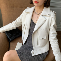 Leather leather womens motorcycle leather short 2021 spring and autumn new sheepskin slim thin coat leather jacket
