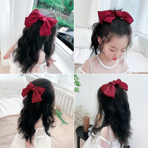 Oversized bow 髮 clip tiara 髮 red princess red baby Korean girl 髮 clip 髮 accessories