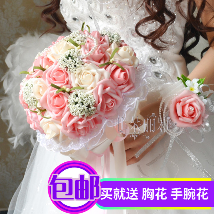 Wedding bouquet Chinese Korean version of the simulation bridesmaids holding flowers wedding photography props rose red hand holding flowers