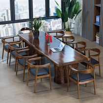Solid wood large board tea table Chinese tea old man office table and chairs combined with modern coffee table Zen tea table