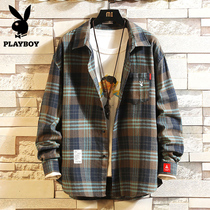 Spring youth thin paragraph ins plaid shirt mens long-sleeved Korean trend handsome jacket casual shirt slim fit