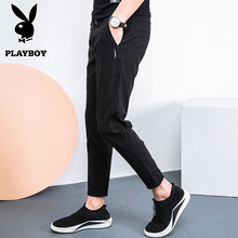 Playboy pants male Korean version of the trend of the summer nine pants Slim pants pants stretch pants youth wild