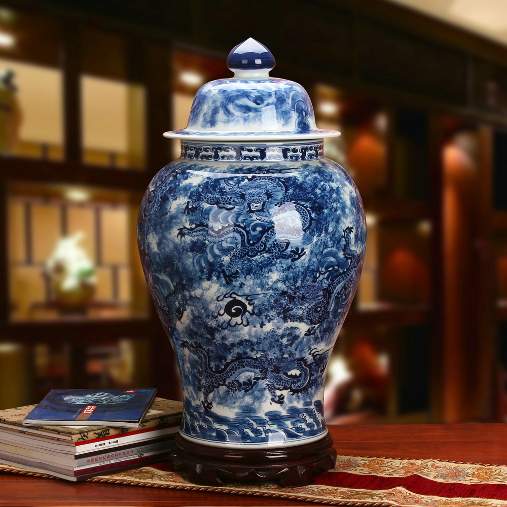 Jingdezhen Ceramics High-grade Handpainted Blue and White Porcelain Kowloon in the Heaven and Earth General Cans Ming and Qing Classical Decorations