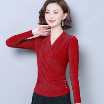 Autumn and winter long-sleeved new modern national standard dance practice clothes V collar elastic bright silk social dance square dance pie shirt