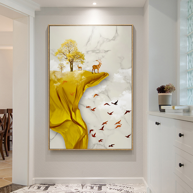 New Chinese Corridor Corridor Decorative Painting Entrance Point Picture Vertical Print Modern Simple Fresco Windscape Painting