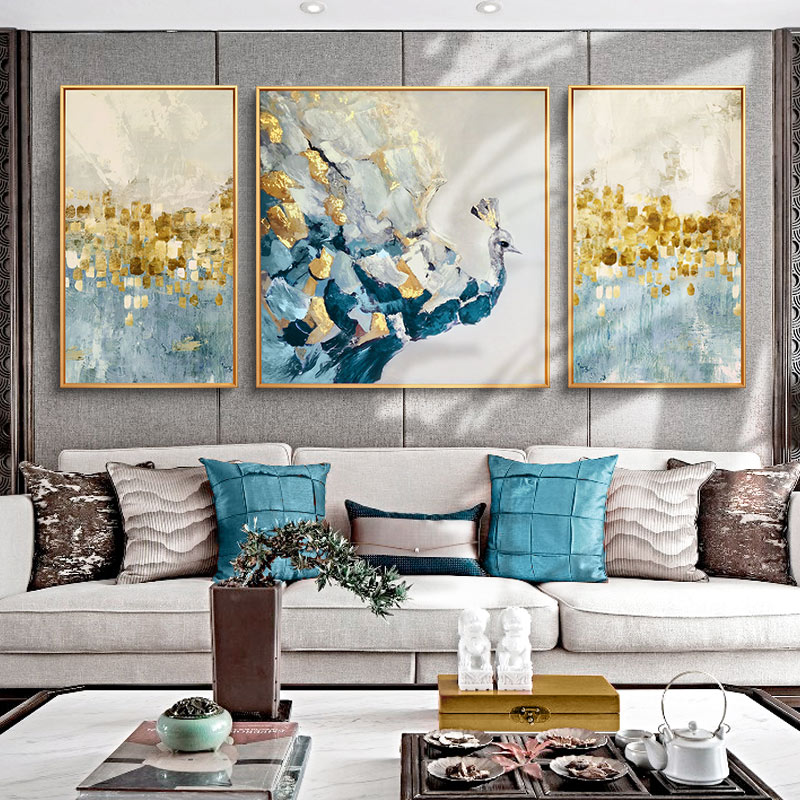 Modern Simple and Abstract Triple Painting of Living Room Decorative Painting Jane and American Sofa Background Wall Painting of Nordic Blue Peacock