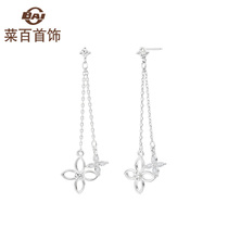 Cuisine hundred jewelry silver jewelry s925 silver trend fashion resuscing four petals of flower line earrings womens new products