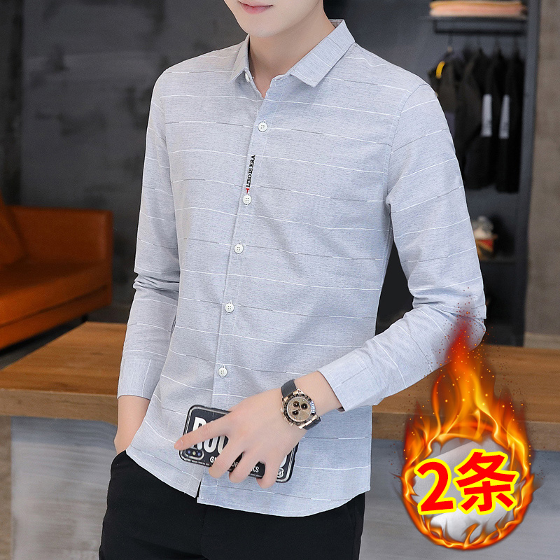 2020 autumn and winter models plus velvet padded shirt men's Korean style slim warm men's shirt trend casual all-match top