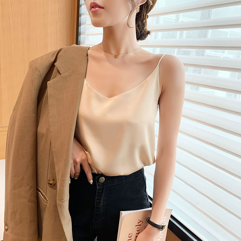 Silk small suspenders women net red ins sexy suit with sleeveless top summer loose outer wear bottom vest tide