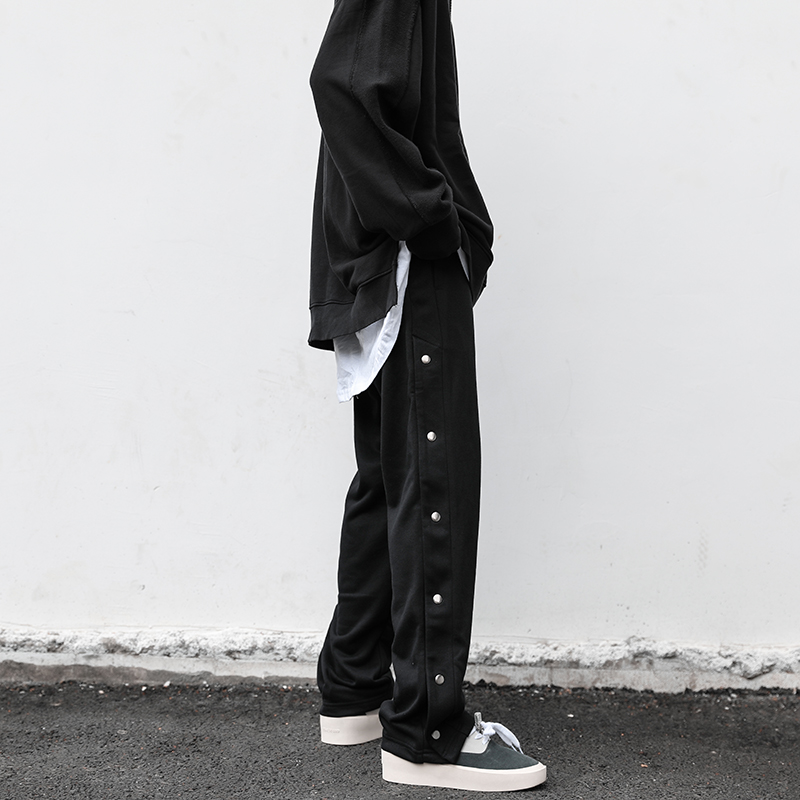 Europe and the United States simple sports side button釦 fork straight straight loose casual pants tide brand high street wind row button long pants man