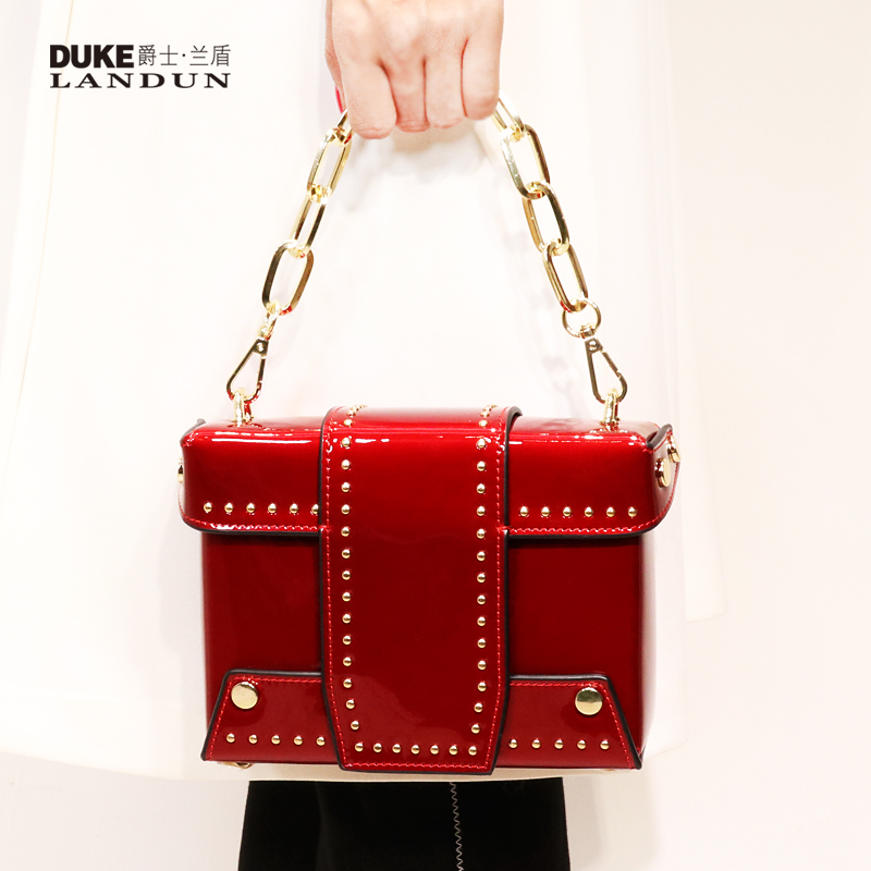 Baggage girl 2019 New Genuine Leather cowhide fashion trend handbag bag lady bag bag small bag Liu Ding chain small square bag