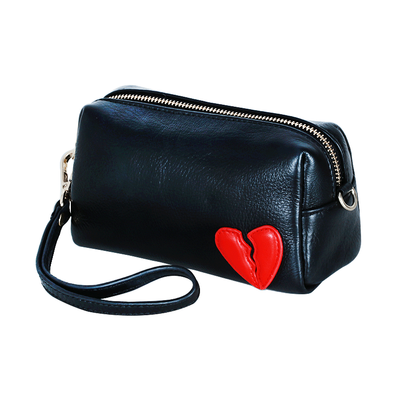 Hand bag female cowhide 2018 new clutch bag female Europe and America hand bag small bag heart-shaped mobile phone bag purse