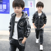 Kids boys set 2017 new autumn and winter in autumn and winter children children with two sets of cashmere velvet thickened
