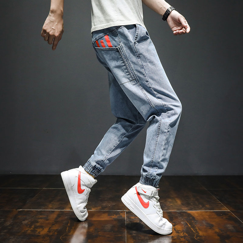 Men's pants Korean Trend spring loose casual work clothes Harun jeans trend brand light color Leggings