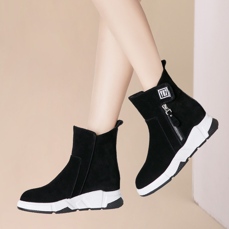 Shoe Girls Autumn and Winter 2019 New Kind of Sports Boots with Heightened Single Boots and Thickened Cotton Shoes with Slope heels and Wool Snow Boots
