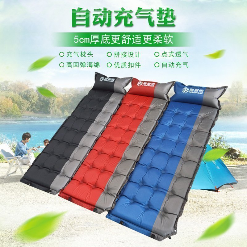 Automatic inflatable cushion with pillow sleeping pad sheets inflatable bed outdoor can be stitched tent mat Multi-person mat