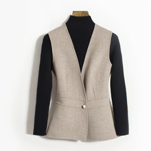 Spot -- pure wool double-sided nylon vest warm jacket short fit sleeveless cashmere wool vest with women inside