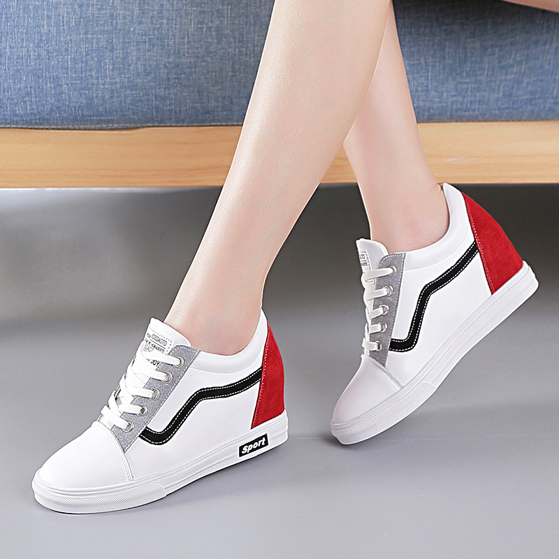 Increased women's shoes white shoes 2018 new 8cm Korean fashion thin single shoes wild Harajuku casual shoes