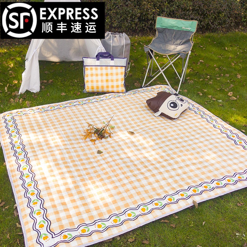 Ins wind outdoor moisture-proof picnic mat thickened oversized park spring tour mats Outing camping lawn children waterproof