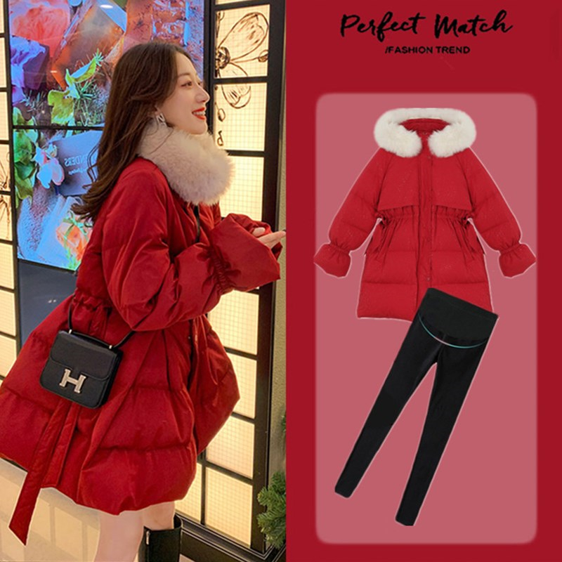 Pregnant women dress autumn and winter clothing 2020 new down jacket winter pregnancy later medium and long version thickened cotton clothing winter pregnancy late loose