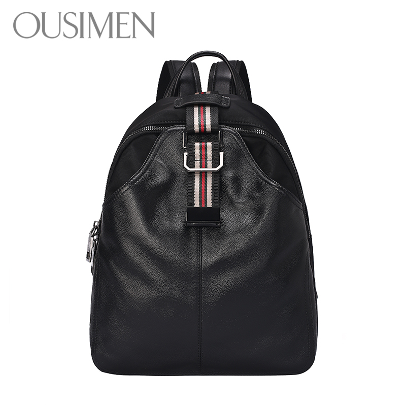 Dual Shoulder Bag Female Genuine Leather 2019 New Korean Edition Fashion Lady Cowhide Backpack British Bag Tide