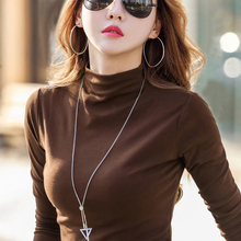 Semi-high-collar T-shirt with long sleeves for women and thin cotton shea butter skinny jacket in early autumn of 2019