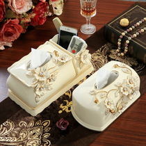 European-style ceramic multi-function tissue box practical creative living room coffee table pumping tray retro home decorations ornaments