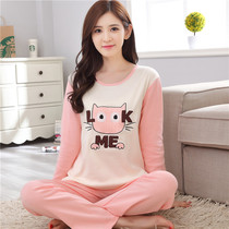Spring and autumn pajamas winter long-sleeved pants suit thin section cotton large size cotton pajamas Korean version of the cartoon home service