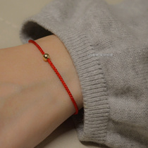 Help marriage this year red rope foot man 14K gold transfer pearl red hand rope male help academic couple hand 錬 woman