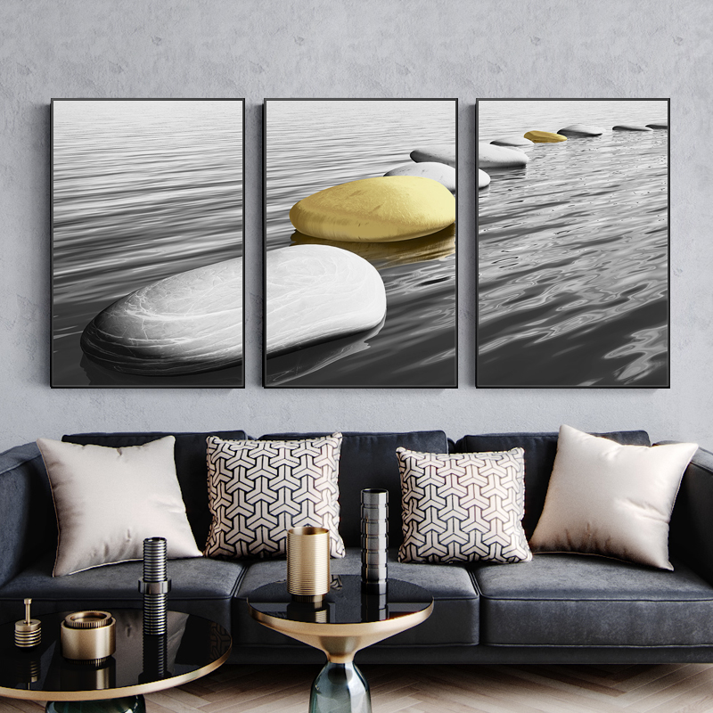 Shi Laiyun Living Room Decoration Painting Black Framed Wall Painting in Triple Paintings of Hanging Landscape behind the Background of Sofa