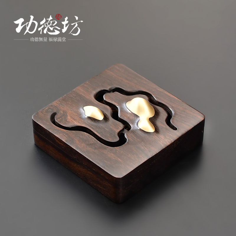 "Gongde Square ""Chan Shan"" Copper Wood Creative Incense Furnace Household Indoor Tea Road Sandalwood Pan Incense Furnace Gift Aromatherapy Furnace"