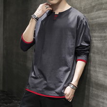 Long Sleeve T-shirt Men New Spring and Autumn 2009 Cotton T-shirt Trendy Sanitary Wear Autumn Dress Bottom Shirt Men