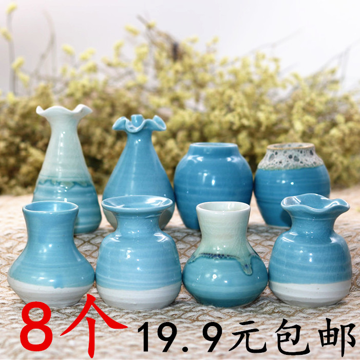 Jingdezhen Ceramics Mini-vase Creative Water-cultured Flower Arrangement Desktop Living Room Small Vase Arrangement Hand-made Small and Fresh