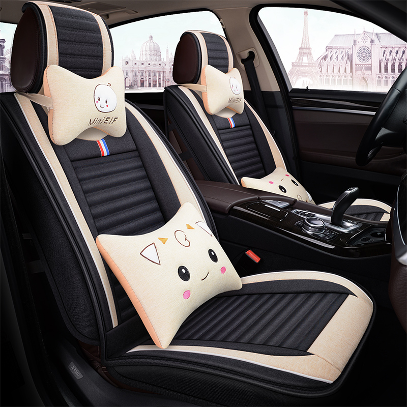 Cartoon car cushion four seasons GM surrounds 18 new emperor GSGL vision linen cloth seating set in winter