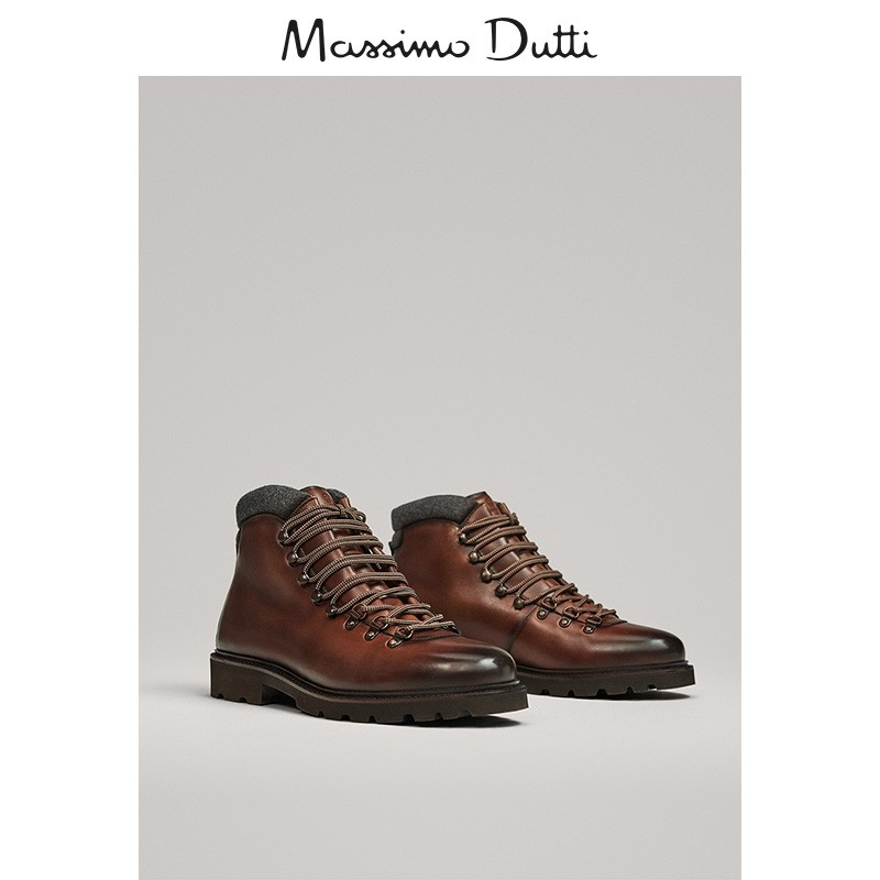 Season end discount Massimo dutti men's shoes mountaineering brown leather boots 16018022700