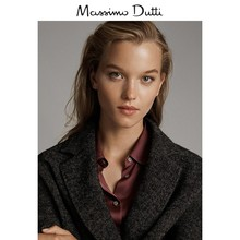 Massimo Dutti Women's Clothes 2019 Autumn and Winter New Double-breasted Herringbone Fine Wool Women's Overcoat 06442517800