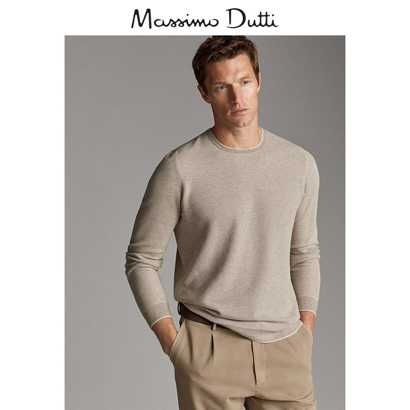 Massimo dutti men's cotton and silk round neck T-shirt casual men's pullover 00903440712