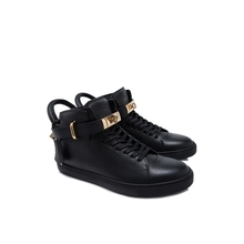 Buscemi men's shoes, men's calf leather, high lace, flat bottomed casual sports shoes.