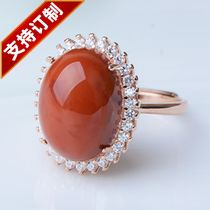 Natural South Red ring 925 Silver diamond finished ring domineering trendy fashion adjustable flame red ring face