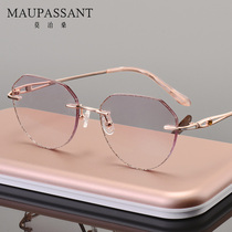 Maupassant pure titanium glasses frame female rimless glasses Tide Ultra-Light diamond cutting edge glasses with diamond can be equipped with myopic astigmatism