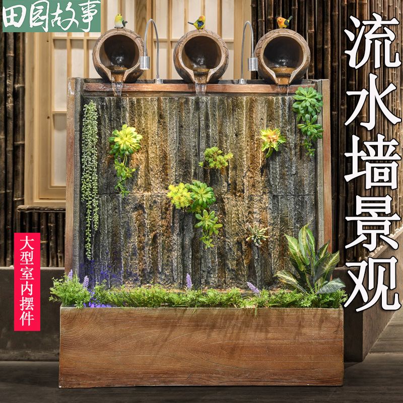 Large-scale water curtain wall, flow curtain, screen living room, porch, indoor fountain, waterfall, geomantic cylinder, courtyard Landscaping