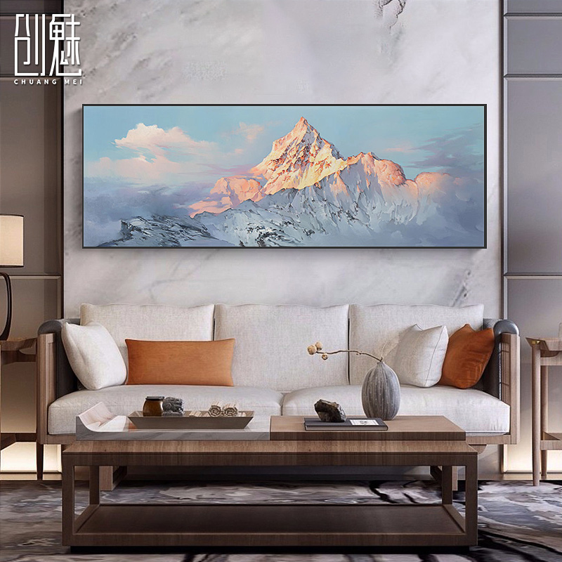 Bedside New Chinese Landscape Abstract Hand-painted Oil Painting Modern Simple Fresco Bedroom Hanging Painting Living Room Decorative Plate