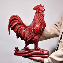 Red Pear Wood Carving Rooster Decoration Crafts of Wooden Animal Twelve Zodiac Chicken Home TV Cabinet