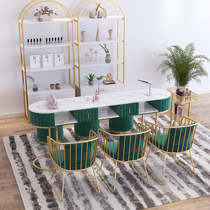 Nordic net red ins nail shop decoration Marble table and chair set Single double nail table Light luxury simple present