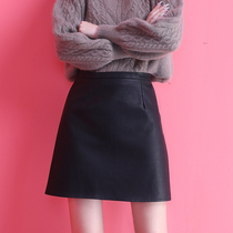 Black leather skirt skirt Women summer skirt high waist autumn winter summer thin autumn skirt spring and autumn skirt A- line dress