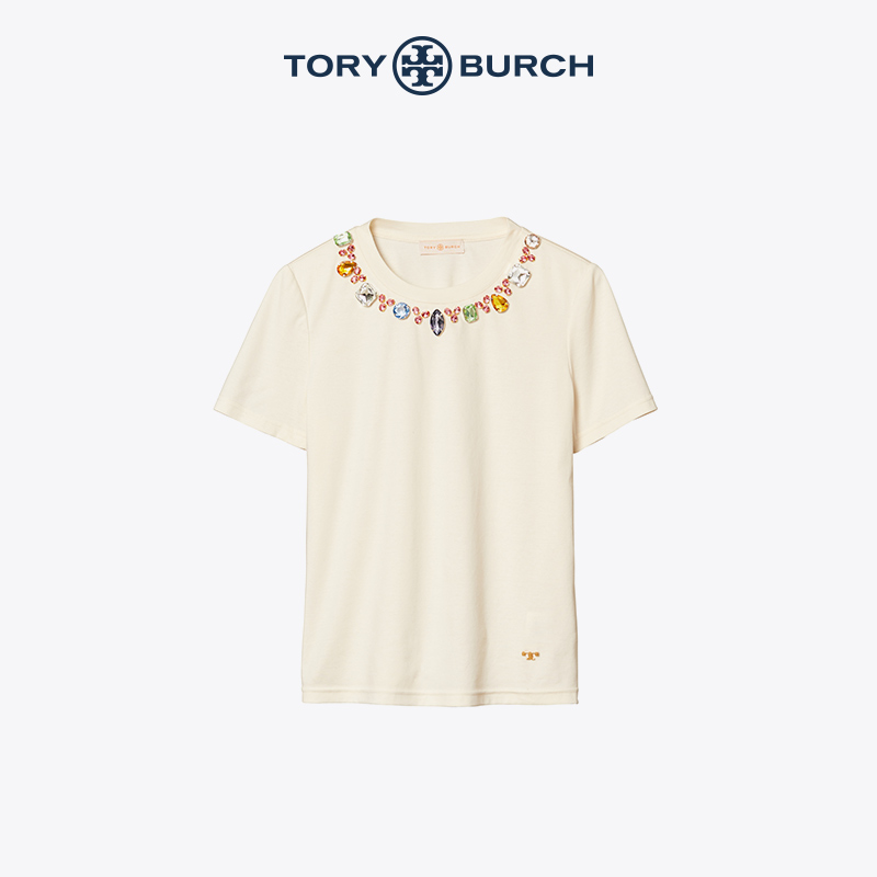 Queen's day limited Tory Burch tomblich neckline drill neck short sleeve T-shirt 71847