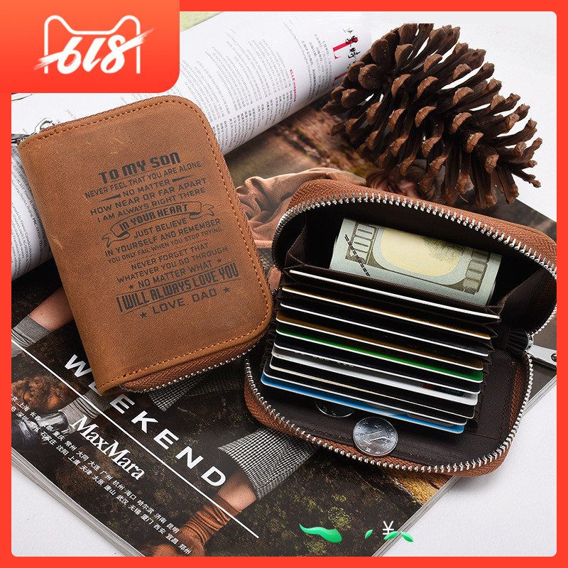 Mad Horseskin Antimagnetic Stick Organ Card Bag Durable Men's Zero-purse Zipper Card Put on Kraft Business Card Women's Credit Card
