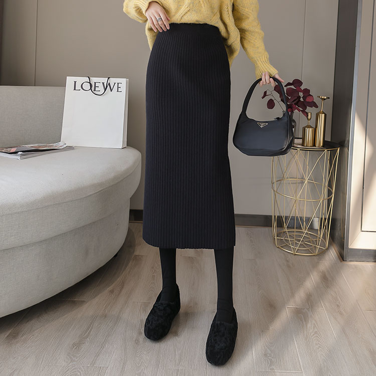 Autumn and winter thick knitted straight bag hips thin outside wearing a long version skirt high waist thin not open fork one step skirt girl