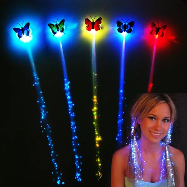 Luminous Butterfly Braid Flash Toy Children Decorate Colorful Fiber Silk Night Glow Hair Push Small Gifts Wholesale