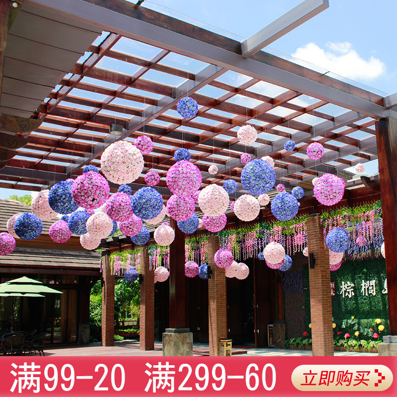 Brief simulation of plastic flower ball Festival ceiling opening Festival mall wedding decoration window shop decoration